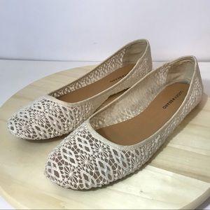 Lucky Brand Crochet Lace Flats Ivory Size 13
